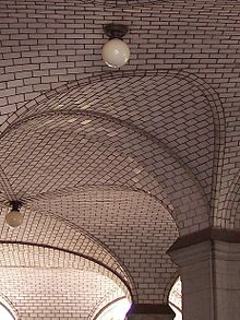 Guastavino ceiling tiles on the south arcade of the Manhattan Municipal Building