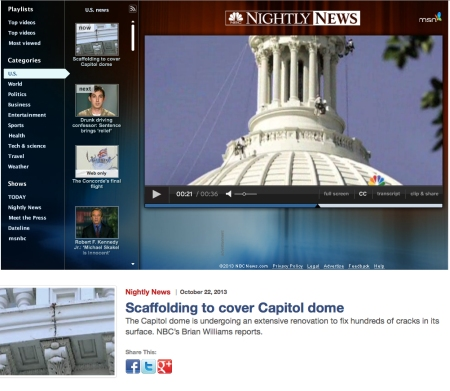 Screen shot of NBC video coverage of U.S. Capitol Dome restoration project includes Vertical Access team performing inspection of conditions.