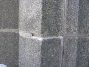 failed mortar in cast stone masonry