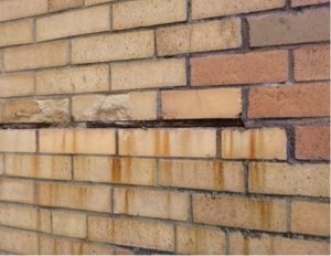 pack rust in a reliving angle causing adjacent brick to spall