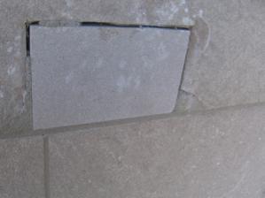 Failed dutchman repair in limestone