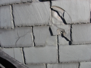 Cracked and missing slate