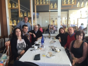 Lunch on the beach with friends, family and colleagues in Valencia, the day of the Premier. Right to left: María Alcalá, Fernando Vegas, Camilla Mileto, Kent Diebolt, Arturo Zaragozá, Gabriel Pardo, Berta de Miguel