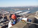 Kristen Olson starts one of many inspection drops. Note Governors Island and the Statue of Liberty in the background.